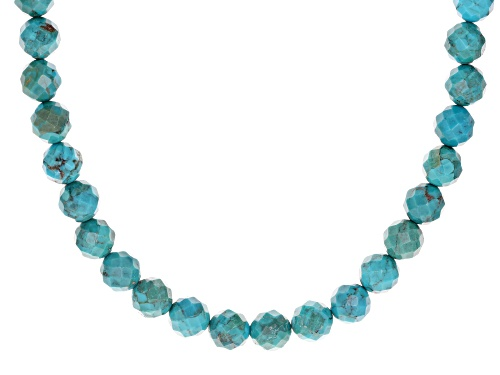 Photo of Southwest Style by JTV™ 9mm round faceted turquoise bead strand sterling silver necklace - Size 18