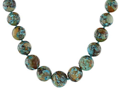 Photo of Southwest Style By JTV™ Graduated 6mm-18mm  Turquoise Knotted Bead Rhodium Over Silver Necklace - Size 32