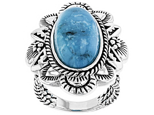 Photo of Southwest Style By JTV™ 22x10mm Oval Turquoise Sterling Silver Solitaire Ring - Size 6
