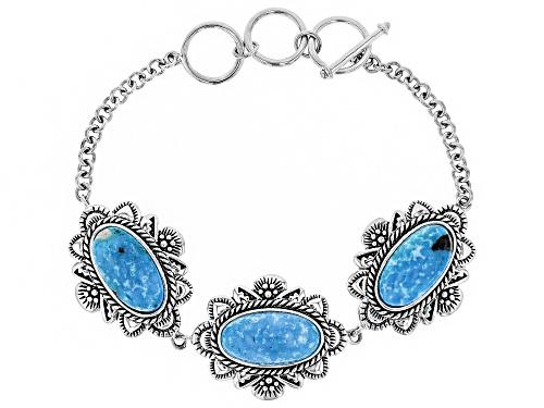 Photo of Southwest Style By JTV™ 18x9mm Oval Turquoise Sterling Silver Bracelet - Size 7.5