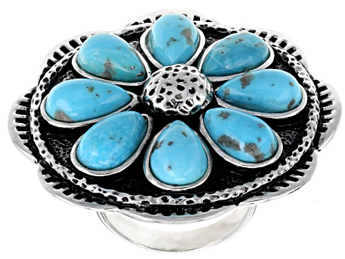 Photo of Southwest Style By JTV™ 10x6mm Pear Shape Cabochon Turquoise Silver Floral Ring - Size 6