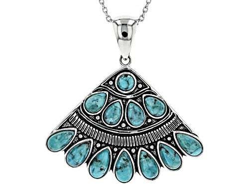 Photo of Southwest Style By JTV™ Pear Shape & Round Blue Turquoise Sterling Silver Fan Pendant With Chain