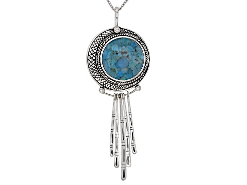 Photo of Southwest Style by JTV™ 20mm Round Turquoise Sterling Silver Pendant With Chain