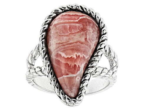 Photo of Southwest Style by JTV™ Custom Shape Rhodochrosite Rhodium Over Silver Solitaire Ring - Size 6