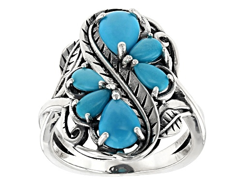 Photo of Southwest Style by JTV™ pear shape Sleeping Beauty turquoise rhodium over sterling silver ring - Size 5