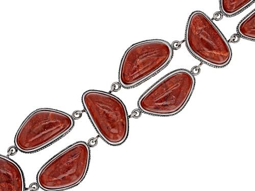 Photo of Southwest Style By JTV™  20x11mm Custom Shape Red Coral Silver Bracelet - Size 7.25