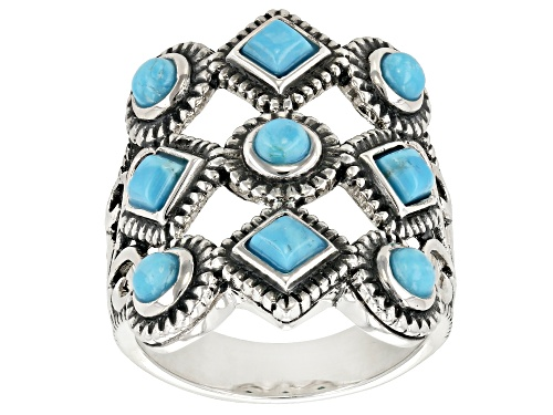 Photo of Southwest Style by JTV™ 3mm Round And Square Turquoise Silver Multi Row Ring - Size 5
