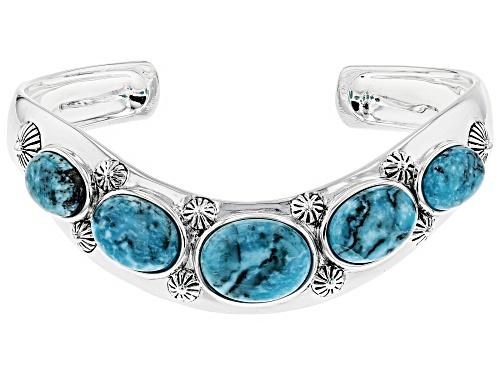 Photo of Southwest Style by JTV™ Oval Kingman Turquoise Sterling Silver Chevron Cuff Bracelet - Size 8