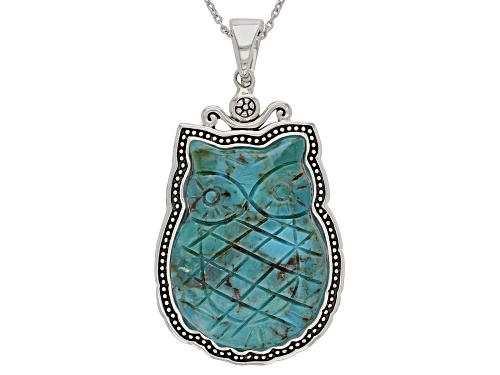 "Photo of Southwest Style By JTV™ Carved Turquoise Owl Sterling Silver Enhancer With 24"" Chain"
