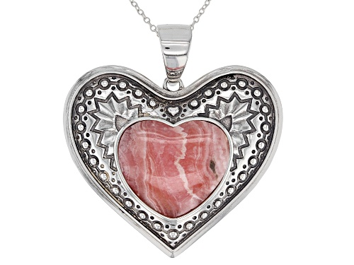Photo of Southwest Style By JTV™ 18x20mm Heart Shape Pink Rhodochrosite Sterling Silver Pendant With Chain.