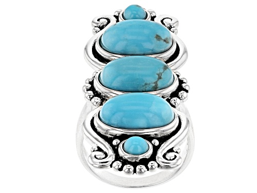 Photo of Southwest Style By JTV™ 12x8mm Oval And 4mm Round Kingman Turquoise Rhodium Over Silver Ring - Size 5