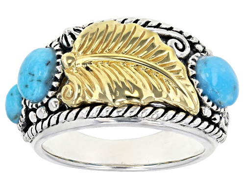 Photo of Southwest Style By JTV™ Mixed Shapes Kingman Turquoise Sterling Silver Two-Tone Leaf Ring - Size 6