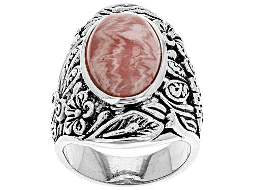 Photo of Southwest Style By JTV™ 16x10mm Oval Rhodochrosite Solitaire Dragonfly/Floral Silver Ring - Size 7