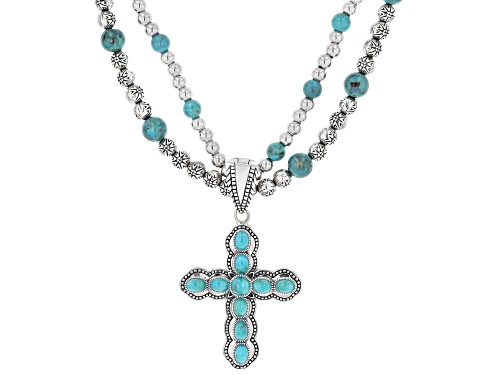 Photo of Southwest Style By JTV™ Turquoise and Silver Bead Necklace With Turquoise Cross Enhancer - Size 20