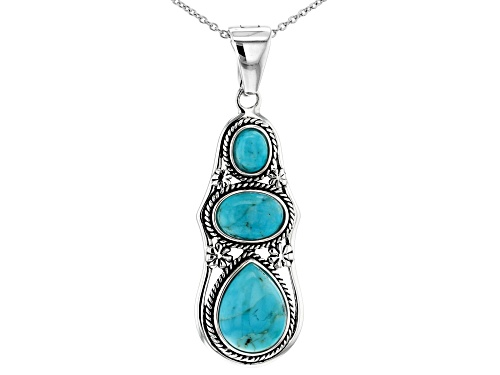 Photo of Southwest Style By JTV™ Pear Shape & Oval Turquoise 3-Stone Silver Enhancer/Pendant With Chain