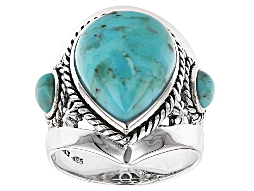 Photo of Southwest Style By JTV™ 16x12mm Pear Shape and 5x3mm Oval Turquoise Sterling Silver Ring. - Size 8