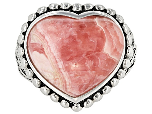 Photo of Southwest Style By JTV™ 18x16mm Heart Shape Rhodochrosite Solitaire Sterling Silver Heart Ring - Size 6