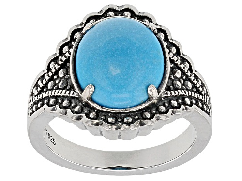 Photo of Southwest Style By JTV™ 12x10mm Oval Sleeping Beauty Turquoise Rhodium Over Sterling Silver Ring - Size 12