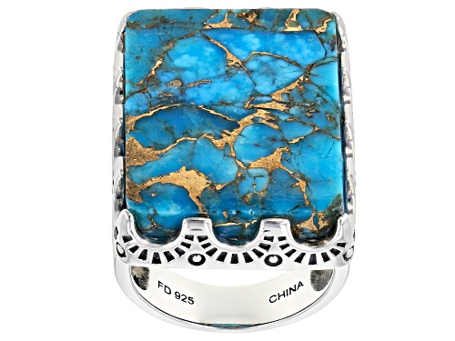 Photo of Southwest Style By JTV™ 25x18mm Rectangular Mohave Kingman Turquoise Solitaire Silver Ring - Size 5