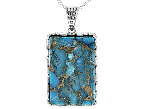 Photo of Southwest Style By JTV™ 30x20mm Rectangular Mohave Kingman Turquoise Silver Pendant With Chain