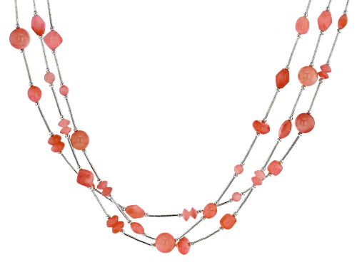 Photo of Southwest Style By JTV™ Mixed Shape, MM and Cut Peach Coral Liquid Silver 3-Strand Bead Necklace - Size 18
