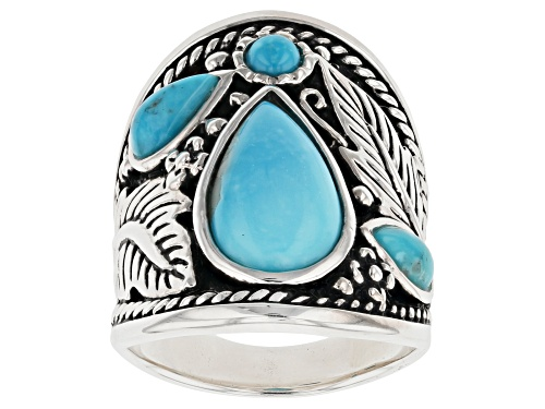Photo of Southwest Style By JTV™ Pear Shape and Round Kingman Turquoise Rhodium Over Sterling Silver Ring - Size 7