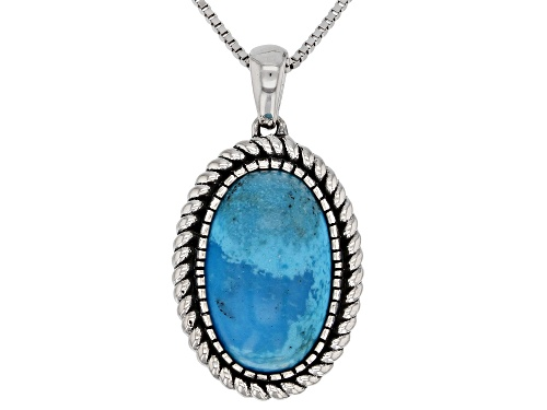 Photo of Southwest Style By JTV™ 16x10mm Oval Kingman Turquoise Rhodium Over Silver Pendant With Chain