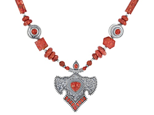Photo of Southwest Style By JTV™ Mixed Shape Red Sponge Coral Rhodium Over Sterling Silver Bead Necklace - Size 18