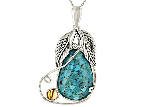 Photo of Southwest Style By JTV™ 30x20mm Turquoise and 6x6mm Amber Rhodium Over Silver Enhancer With Chain