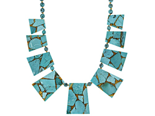 Photo of Southwest Style By JTV™ Mixed Trapezoid Slice & Round Turquoise Bead Rhodium Over Silver Necklace - Size 18