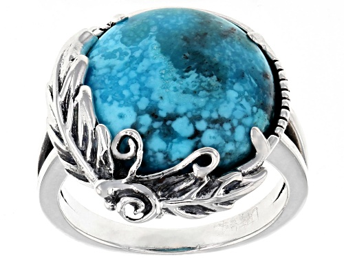 Photo of Southwest Style By JTV™ 15mm Round Kingman Turquoise Solitaire Rhodium Over Silver Ring - Size 5