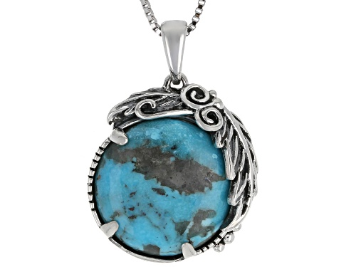 Photo of Southwest Style By JTV™ 15mm Round Kingman Turquoise Rhodium Over Silver Pendant With Chain