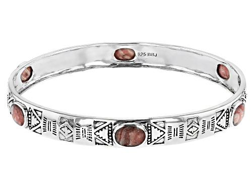 Photo of Southwest Style By JTV™ 8x6mm Oval Rhodochrosite Sterling Silver 6-Stone Bangle Bracelet - Size 8