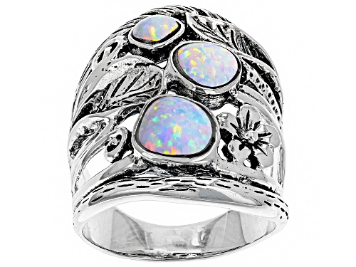 Photo of Southwest Style By JTV™ Lab Created Opal Sterling Silver 3-Stone Floral Ring - Size 5