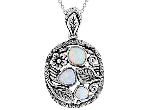 Photo of Southwest Style By JTV™ Lab Created Opal 3-Stone Sterling Silver Pendant With Chain.