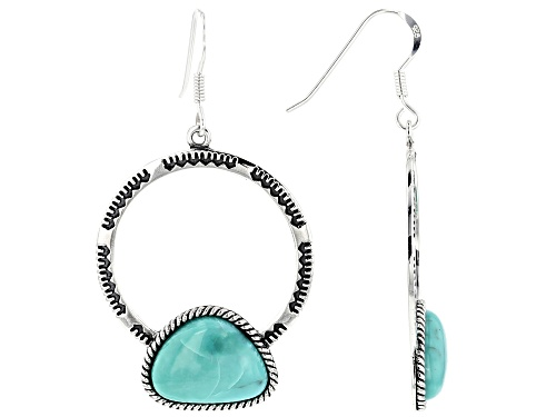 Photo of Southwest Style By JTV™ 16x12mm Free Form Turquoise Rhodium Over Sterling Silver Dangle Earrings