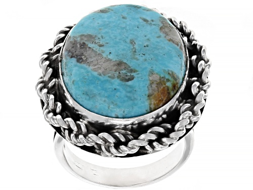 Photo of Southwest Style By JTV™ 20x16mm Oval Kingman Turquoise Solitaire, Sterling Silver Ring - Size 6