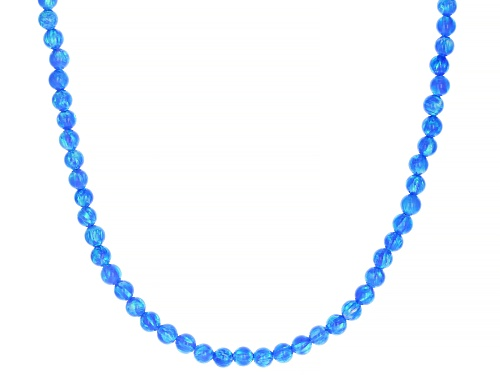 Photo of Southwest Style By JTV™ 4mm Round Lab Created Blue Opal Sterling Silver Bead Necklace - Size 18