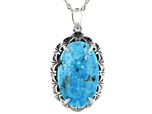 Photo of Southwest Style By JTV™ Oval Kingman Turquoise Solitaire Rhodium Over Silver Pendant With Chain
