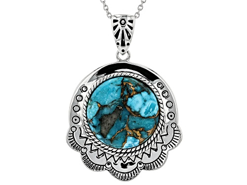 Southwest Style By JTV™ 20mm Round Kingman Turquoise Rhodium Over Silver Pendant with Chain