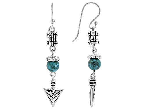 Photo of Southwest Style By JTV™ 6mm Round Turquoise Bead Rhodium Over Silver Arrow Detail Dangle Earrings