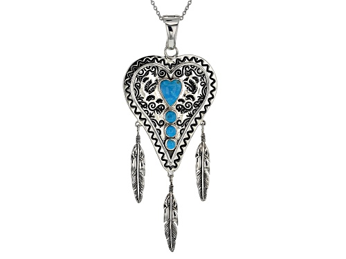 Photo of Southwest Style By JTV™ Kingman Turquoise Rhodium Over Silver Heart And Feather Enhancer W/Chain