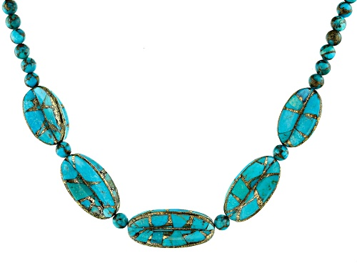 Photo of Southwest Style By JTV™ Custom Shape and Bead Turquoise Rhodium Over Silver Necklace - Size 18