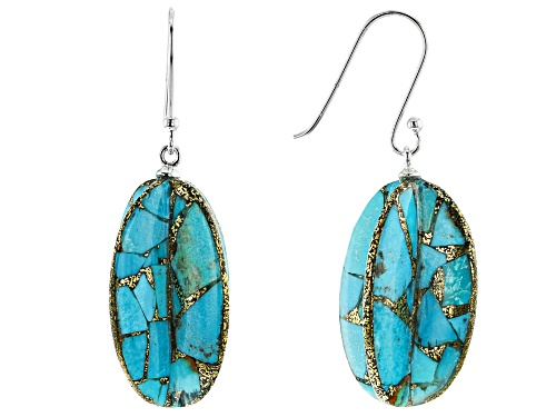Photo of Southwest Style By JTV™ Custom Shape Turquoise Rhodium Over Silver Dangle Earrings
