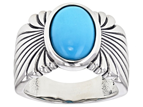 Photo of Southwest Style By JTV™ Oval Sleeping Beauty Turquoise  Rhodium Over Sterling Silver Ring - Size 8