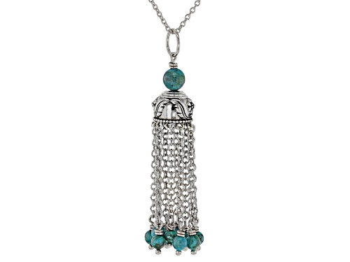Photo of Southwest Style By JTV™ Round Turquoise Bead Rhodium Over Silver 10-Chain Tassel Pendant W/Chain