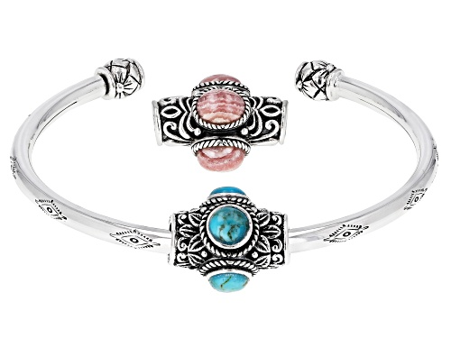 Photo of Southwest Style By JTV™ Rhodochrosite Rhodium Over Silver Bracelet W/ Changeable Turquoise Charm - Size 7.5