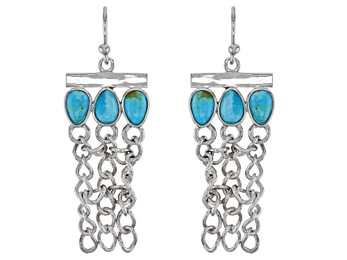 Photo of Southwest Style By JTV™ Turquoise Rhodium Over Sterling Silver Tassel Earrings