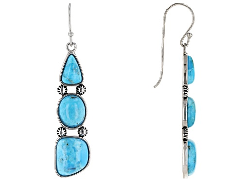 Southwest Style By JTV™ Mixed Shapes Turquoise Rhodium Over Sterling Silver 3-Stone Dangle Earrings