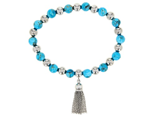 Photo of Southwest Style By JTV™ 8mm Round Turquoise Rhodium Over Silver Bead & Tassel Stretch Bracelet